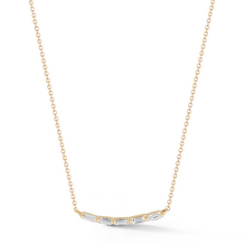Yellow Gold-1^Diamond Pendant Necklaces: Sadie Pearl Baguette Soft Curve Necklace in Yellow Gold