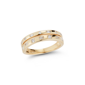 Yellow Gold-1^Diamond Bands: Cynthia Rose Double Constellation Band in Yellow Gold