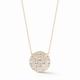 Yellow Gold-1^Diamond Pendant Necklaces: Cynthia Rose Large Disc Necklace in Yellow Gold