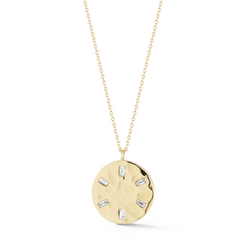 Yellow Gold-1^Diamond Pendant Necklaces: Cynthia Rose Hammered Disc Necklace in Yellow Gold
