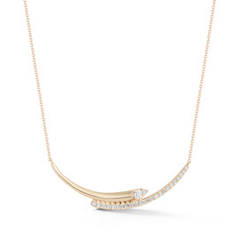 Yellow Gold-1^Diamond Bar Necklaces: Reese Brooklyn Knife-Edge Curve Necklace in Yellow Gold