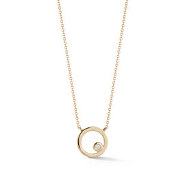 Yellow Gold-1^Designer Diamond Necklaces: Lulu Jack Open Disc Bezel Necklace in Yellow Gold