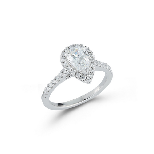 Halo Pavé Cathedral Bridal Ring with 1.04ct. Pear