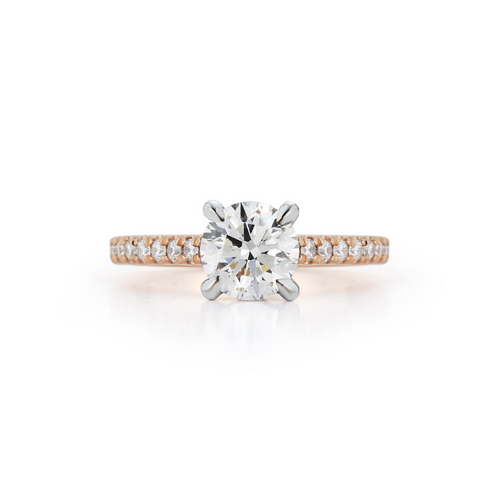 Cathedral Pavé Hidden Halo Bridal Ring with 1.22ct. Round Brilliant