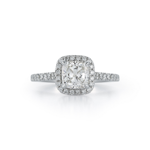 Halo Pavé Cathedral Bridal Ring with 1.04ct. Cushion