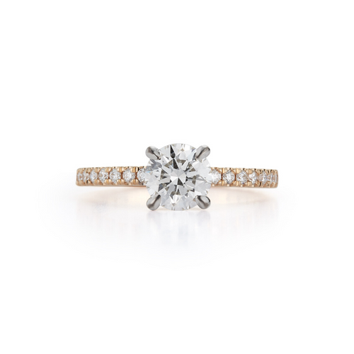 Pavé Hidden Halo Bridal Ring with 1.01ct. Round Brilliant