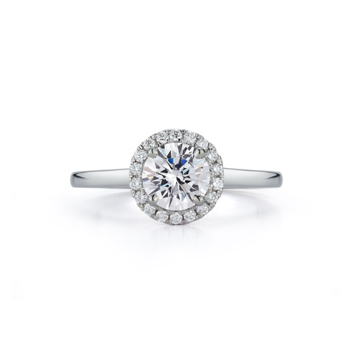 Halo Plain Band Bridal Ring with 1.00ct. Round Brilliant