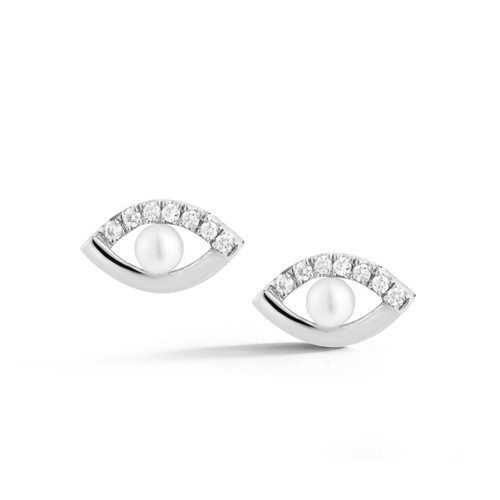 Pearl Ivy White Gold Evil Eye Studs