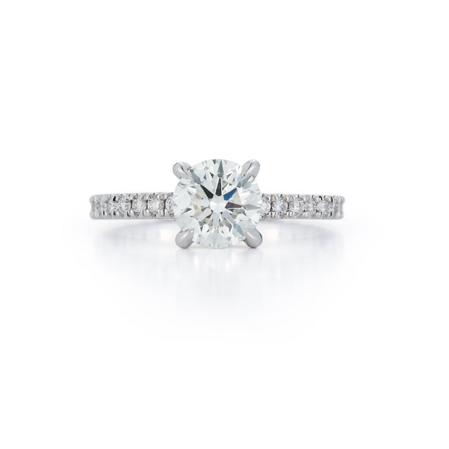 Pavé Hidden Halo Bridal Ring with 1.20ct. Round Brilliant