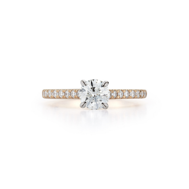 Cathedral Pavé Hidden Halo Bridal Ring with 0.73ct. Round Brilliant