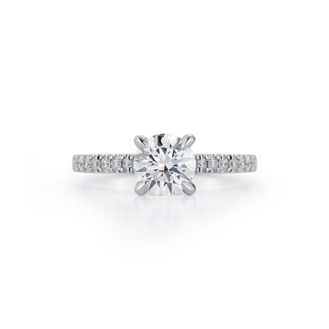 Cathedral Pavé Hidden Halo Bridal Ring with 1.00ct. Round Brilliant