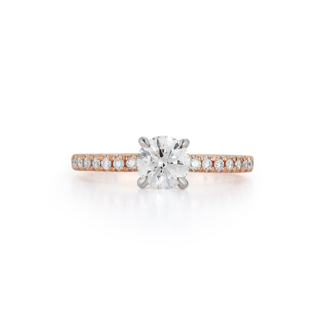 Pavé Hidden Halo Bridal Ring with 0.71ct. Round Brilliant