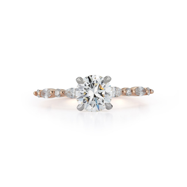 Bridal Ring with 1.01ct. Round Brilliant and Marquise-shape Side Stones