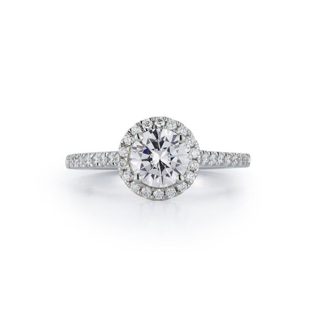 Halo Pavé Cathedral Bridal Ring with 1.01ct. Round Brilliant