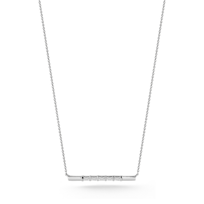 Sadie Pearl Baguette and Gold Bar Necklace