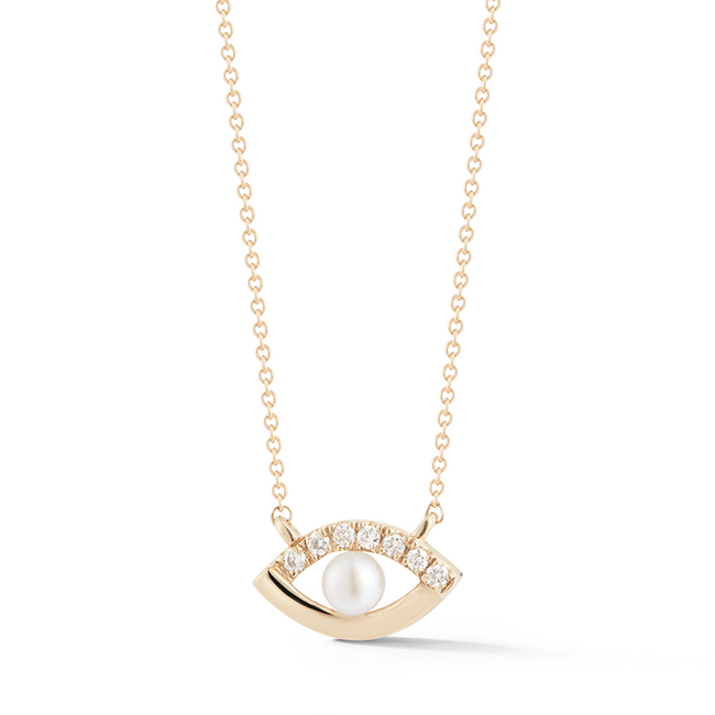 Pearl Ivy Evil Eye Necklace