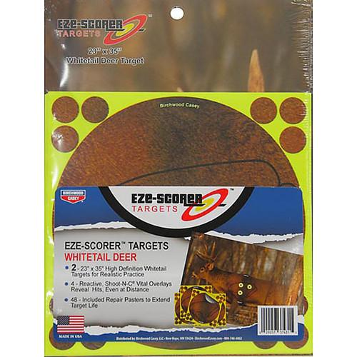 BIRCHWOOD CASEY 23X35 SHOOT N C/EZE-SCORER DEER TARGETS - REACTIVE VITALS OVERLAY