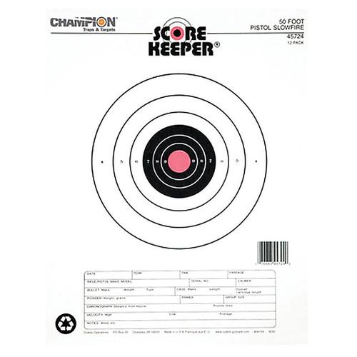 Champion 50 Foot Pistol Slowfire Orange Bullseye 12 Per Pack, 45724