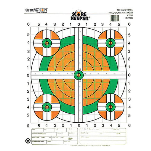 Champion Scorekeeper 100 Yard Rifle Sight In Paper Target Orange/Green Bulls 12 Pack, 45761