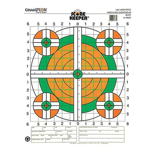 Champion Scorekeeper 100 Yard Rifle Sight In Paper Target Orange/Green Bulls 12 Pack, 45761