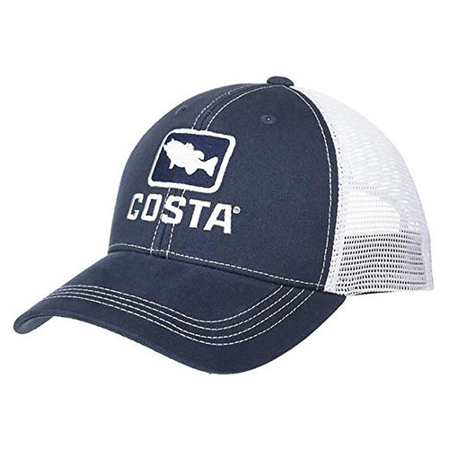Costa Del Mar Bass Trucker Hat, Navy/White, X-Large