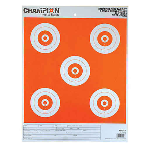 Champion Shotkeeper Targets 5-Bull White/Orange Large 12 Pack, 45559