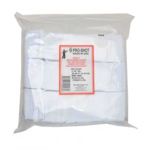 """Pro-Shot Cleaning Cotton Patches 38-45cal 20-410ga 2.25"""" 750ct, 21/4-750"""