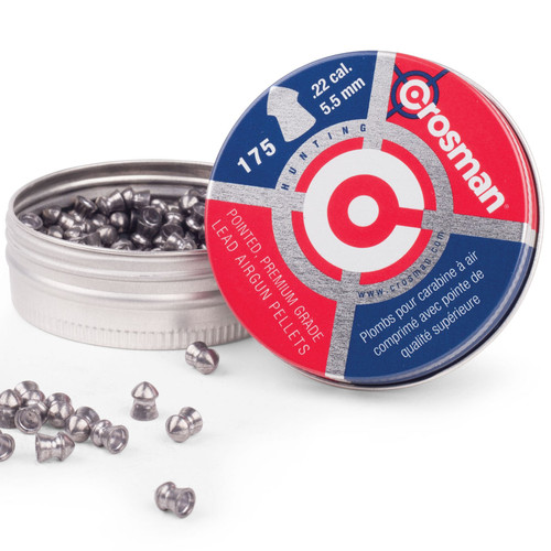 Crosman 00221 Airgun Pellets 22 Caliber 14.3 Grain Pointed Nose Tin of 175