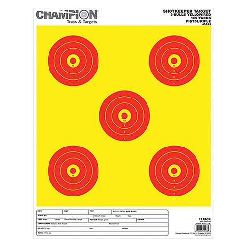 Champion 45563 ShotKeeper 5 Bull 100 Yard Target Large Yellow/Red 12 Pack