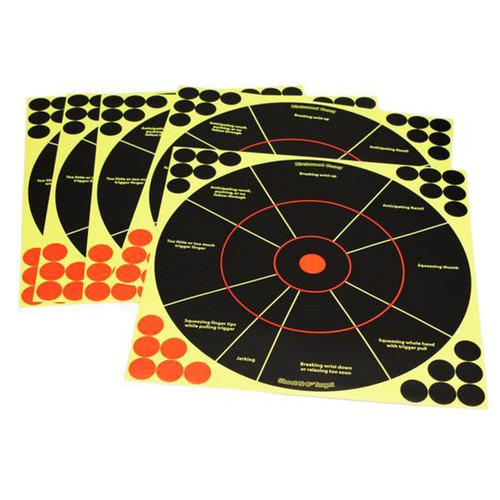 Birchwood Casey Shoot-N-C Self-Adhesive 12in Reactive Targets Pack of 5, 34032