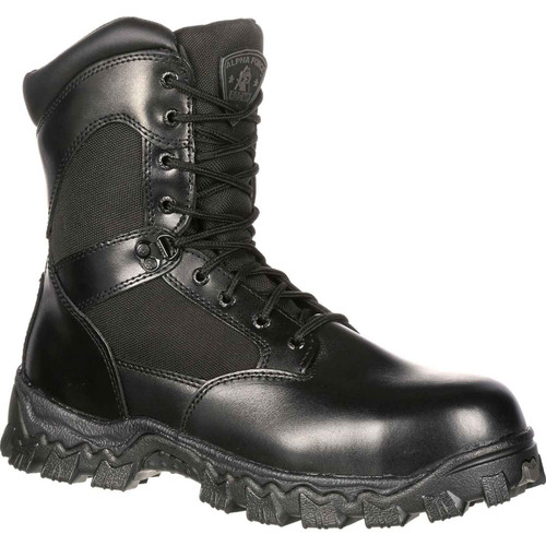 Rocky Mens AlphaForce Zip Up Black Waterproof Leather Duty Boots FQ0002173