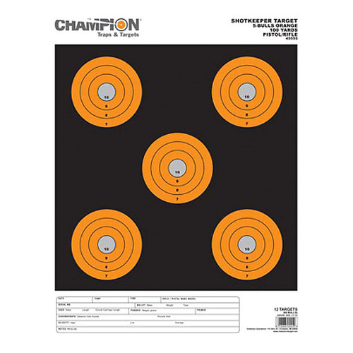 "Champion ShotKeeper 5 Large Bullseye 11"" x 16"" Paper Target Package of 12,45555"