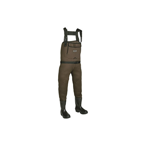 Youth Chest Waders Brown Chesapeake Neoprene Bootfoot Green/Gray, Size 4