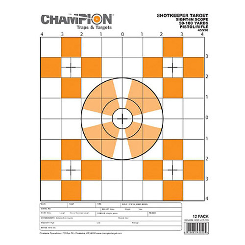 Champion ShotKeeper Sight In Target Small Paper Target 12pk,45550