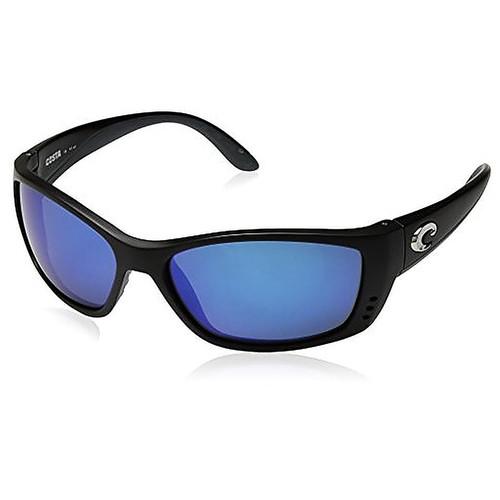 Costa Del Mar Fisch Polarized Iridium Oval Sunglasses, Black, 63.8 mm