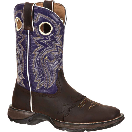 "Durango Lady Rebel Purple Women's 10"" Ink Saddle-Lace Western, RD3576 08ME"