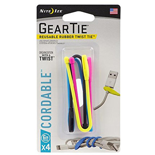 """Nite Ize Gear Tie Cordable 6"""" Assorted"""