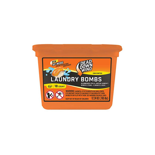Dead Down Wind Laundry Bombs – Unscented, 18 Count, Odor Elimination for Hunting Gear
