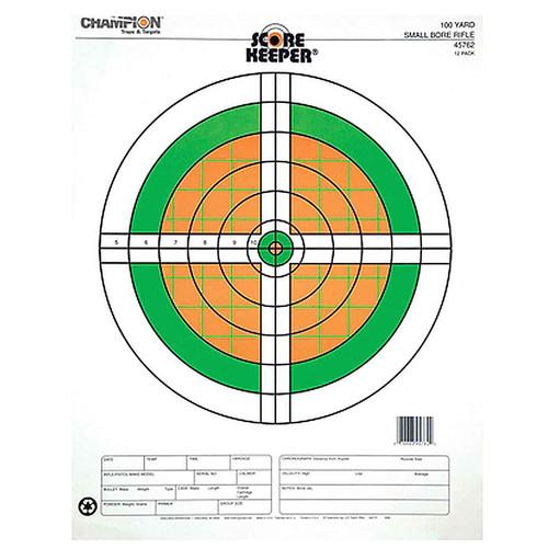 Champion Scorekeeper 100 Yd Small Bore Paper Target Orange/Green 12Pk 45762
