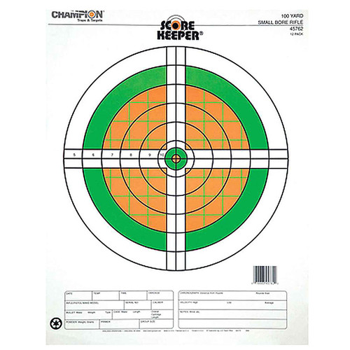 Champion Scorekeeper 100 Yard Small Bore RiflePaper Target Orange/Green 12 Pack, 45762