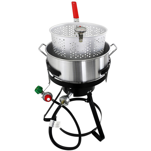 Chard 10.5 QT. Fish and Wing Fryer W/Strainer Basket Set