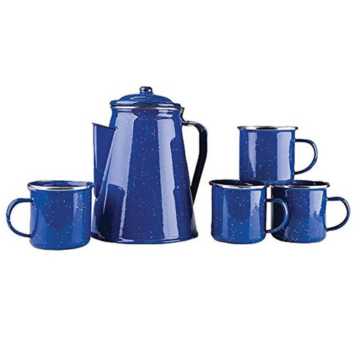 Stansport Enamel Coffee Pot w/Mugs