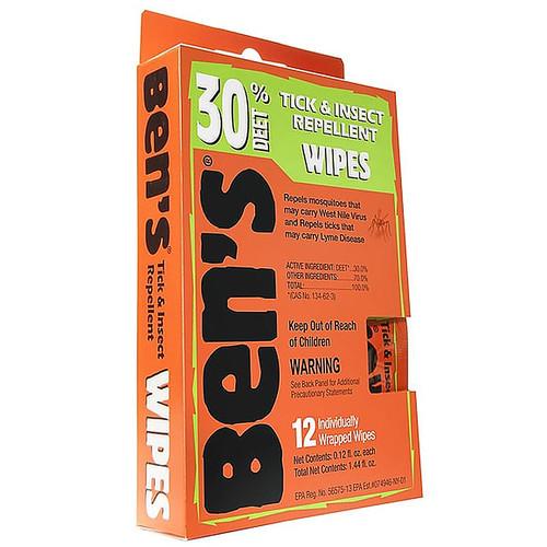 Ben's 30% Deet Tick & Insect Repellent Wipes