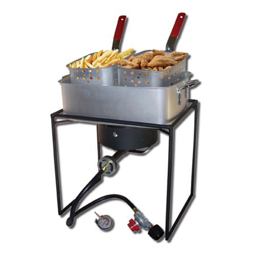 "King Kooker 16"" Rectangular Outdoor Cooker Package with Rectangular Fry Pan"