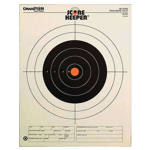 Champion 100 Yard Small Bore Rifle Orange Bullseye 12 Per Pack, 45725