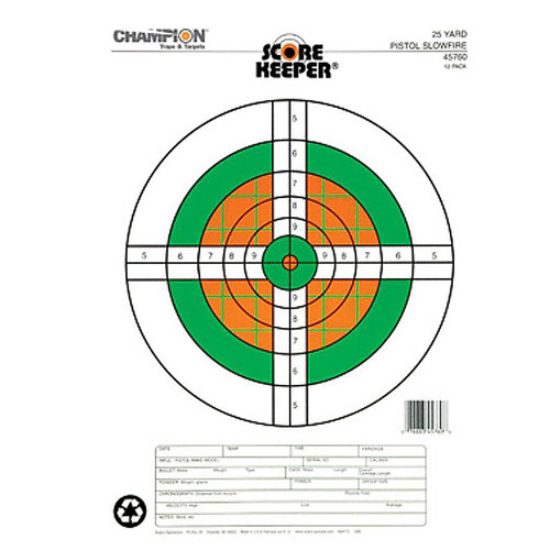 Champion Flourescent Orange/Green Bullseye Target 25 Yd Pistol 45760