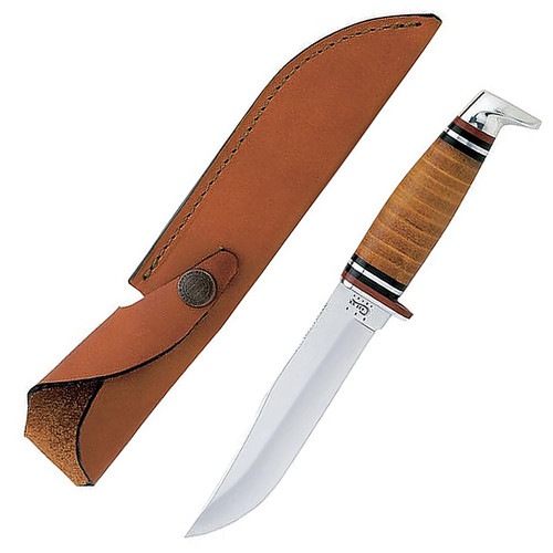 "Case 00385 Hunter Fixed Blade Knife 5"" Clip Point SS Blade Leather Handle"