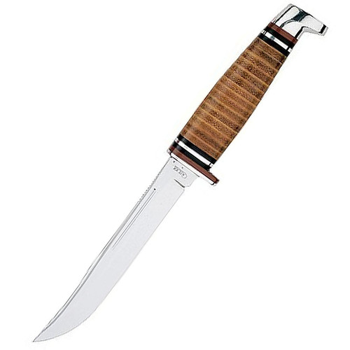 """Case 00381 Knives Hunter Fixed Blade Knife 5.5"""" Stainless Blade Brown Leather Handle"""