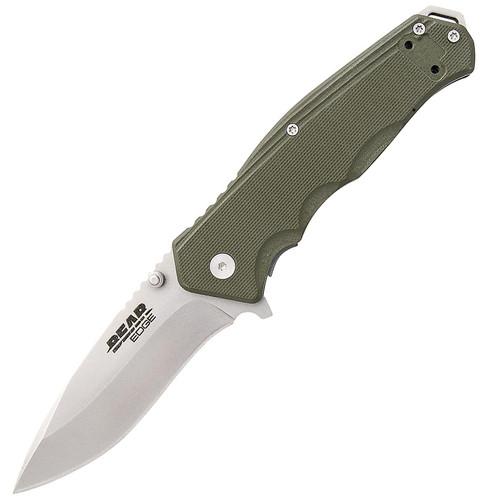 """Bear & Son 61102 Bear Edge G10 4.5"""" Blade Sideliner OD Green"""