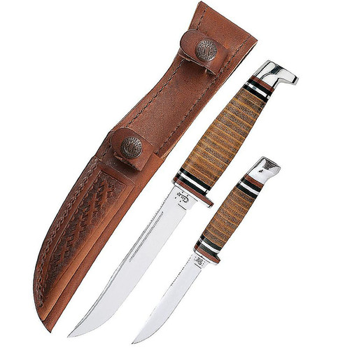 Case 00372 Two-Knife Leather Hunter Set Tru-Sharpe Stainless Mirror Polished Blades